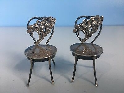 Pair of Antique Vintage Miniature Mini Sterling Silver Floral Chair Figurine