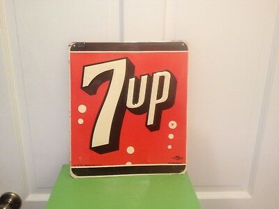 1954 7UP Metal Advertising sign  embossed gas station country store Stout Sign