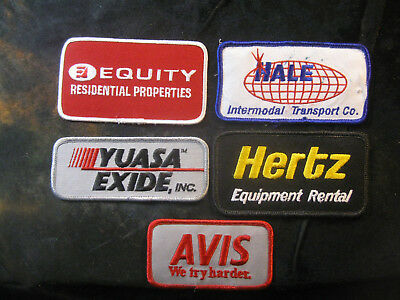 Vintage 1980's-90's Embroidered Printed Uniform Logo Patch Lot (5) w/Hertz NICE