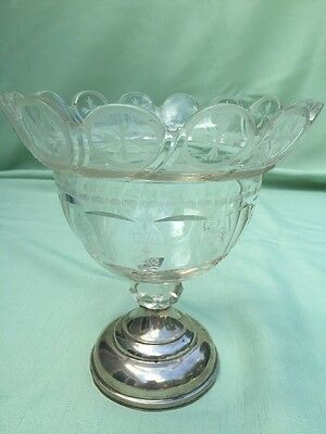 Antique BRILLIANT CUT Etched GLASS CRYSTAL Sterling Silver Base Compote Hallmark
