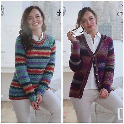KNITTING PATTERN Ladies Easy Knit Textured Jumper &Cardigan Chunky KingCole 5010