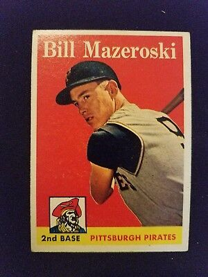 1958 Topps Baseball Card 238 Bill Mazeroski Pittsburgh Pirates Hof Vgex