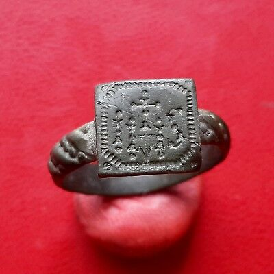Late Medieval bronze religious ring IHS 17-18 century