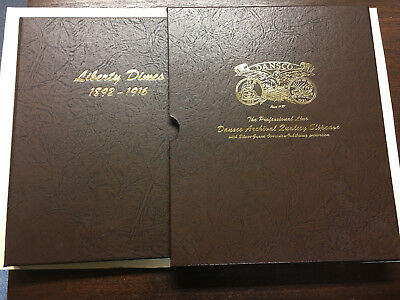"""Lot of 40 Barber Dime Collection in 2 pg Dansco 7121 plus 5/8"""" cover - excellent"""