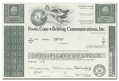 Foote, Cone & Belding Communications, Inc. Stock Certificate