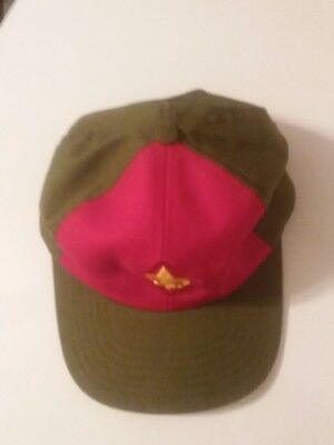Vintage BSA Boy Scouts Twill Snapback Cap Hat Size S/M Red Olive Green
