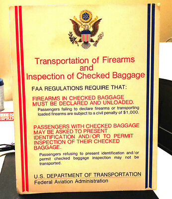 Old 1970's Us Government/faa Transportation Of Airport Firearms Sign Standee
