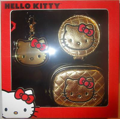 Loungefly Hello Kitty Gold Gift Set - Cosmetic / Coin Bag, Key-Chain Charm & mir
