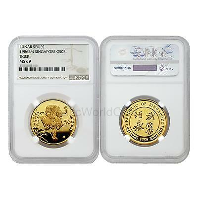 Singapore 1986 Year of Tiger 50 Singold 1/2 oz Gold NGC MS69