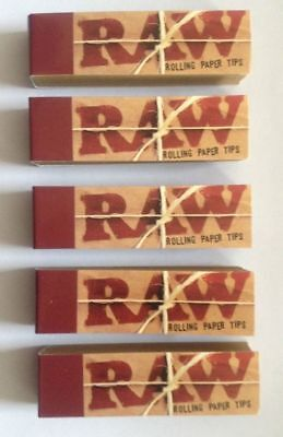 5 X RAW Rolling Paper Roach Filter Tips Chemical and Chlorine free Filter tips