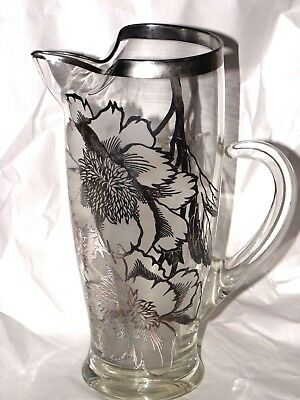 Antique Art Glass Pitcher 925 Silver Floral Overlay Ice Block Shape Rim 9 1/4""