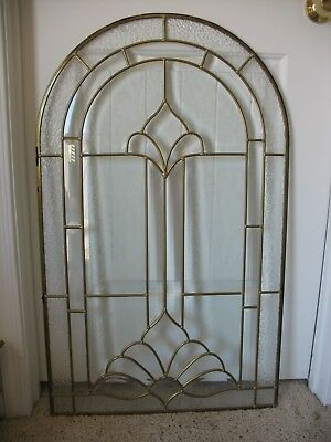 Leaded Glass Panels Brass Frames and Beveled, Textured, Dimpled, Etched,Panes.