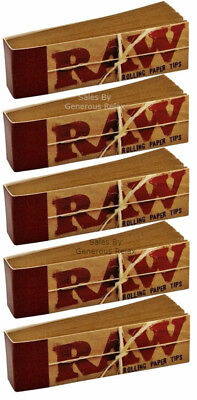 5 Booklets X RAW Rolling Paper Roach Filter Tips Chemical and Chlorine free