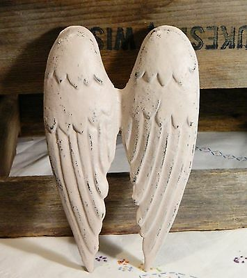 Angel Wings/Cast Iron Metal/Wall Decor/Soft Pink/French Shabby Cottage Chic