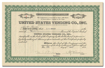United States Vending Co. Inc. Stock Certificate (Refrigerated Vending Machines)