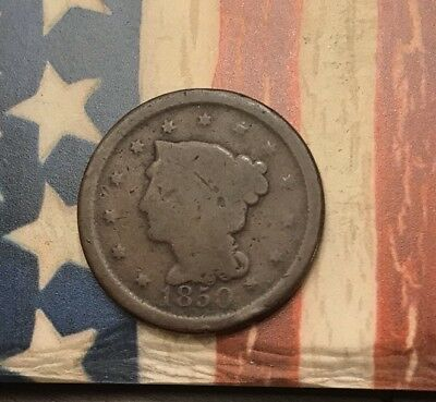 1850 1C Braided Hair Large Cent Vintage US Copper Coin #MP24