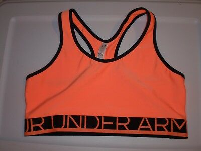 NWOT Womens Large Under Armour Heatgear Compression Orange Black  Sports Bra Top