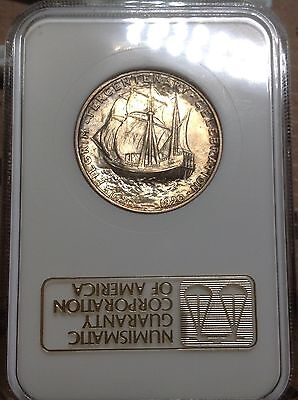 1920 Pilgrim Ngc Ms-63. Old Holder With Gold Embossed Label. Choice And Toned.