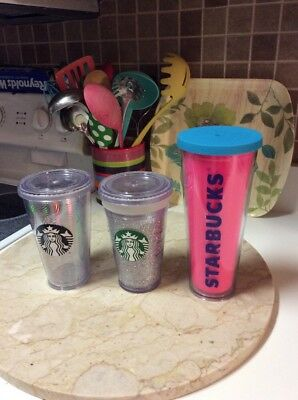 Starbucks  White Glitter Hot Pink Silver Cold Cup Tumbler Lot 3