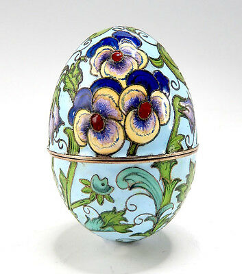 Fine Russian Style Silver Gilt And Cloisonne Enamel Egg Box
