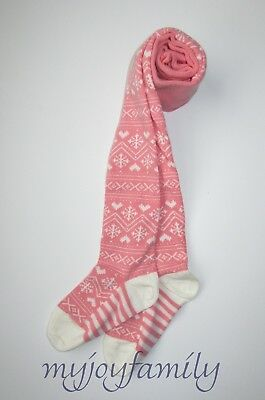 HANNA ANDERSSON Winterly Fair Isle Tights Charming Pink 110 120 5 6-7 NWT