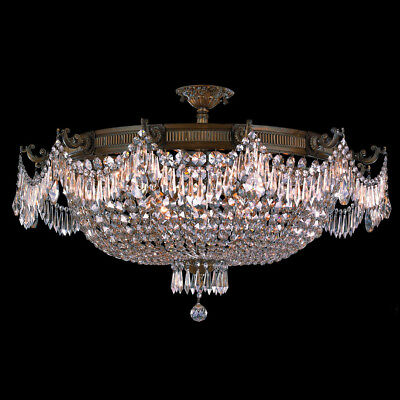"""Winchester 12 Light Antique Bronze Crystal Flush Mount Ceiling 36""""  Extra Large"""
