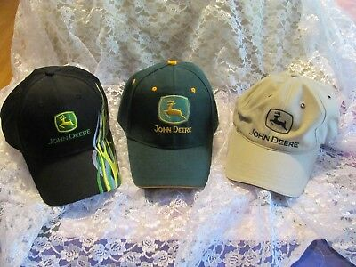 Lot of 3 John Deere Embroidered Green Yellow Black Tan Hat Cap Flames Great Cond