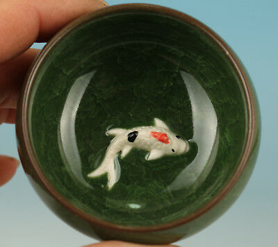 Chinese Porcelain Collection Handmade Carved Fish Statue Tea Cup Bowl