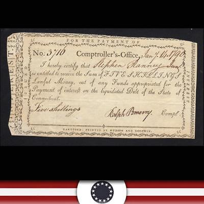 BRIGHT 1790 Five Shillings Connecticut Comptroller Payment