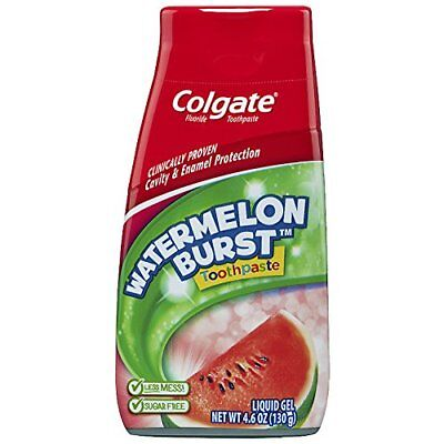4 Pack Colgate Kids Fluoride Toothpaste Liquid Gel Watermelon Flavor 4.6 Oz Each