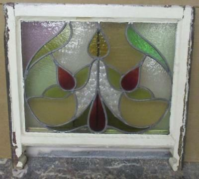 "MID SIZED OLD ENGLISH LEADED STAINED GLASS WINDOW Stunning Floral 23.25"" x 22"""