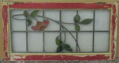 "LARGE OLD ENGLISH LEADED STAINED GLASS WINDOW Fantastic Floral 32.75"" x 17.5"""