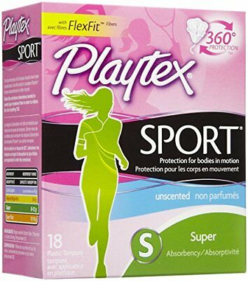 Playtex FlexFit Sport Tampons, Super Absorbent, Unscented, 18 Each Box
