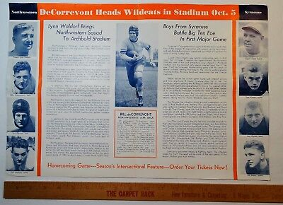 RARE 1940 LG Brochure / Sm Poster Syracuse Orange Football Northwestern Wildcats