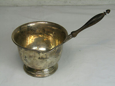 Vintage Sterling Silver Sauce Gravy Bowl Wooden Handle