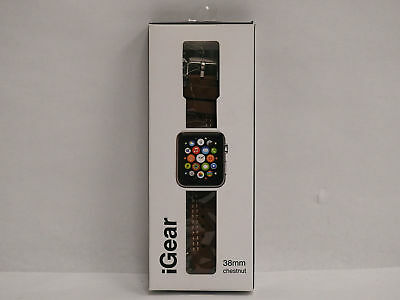 iGear Leather Watch Strap for Apple Watch 38mm - Chestnut / Silver  NEW