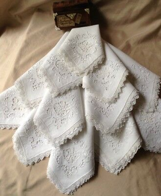 Set Of 12 Antique Victorian Handmade BRODERIE ANGLAISE Embroidery Lace Napkins