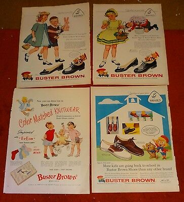 4 vintage BUSTER BROWN shoe AD ADS  A31 fashion