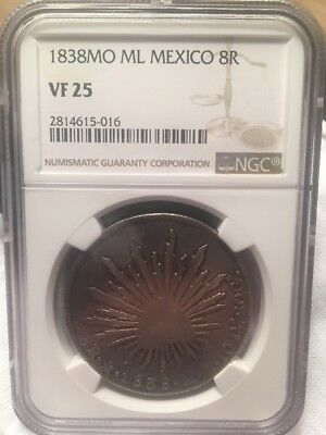1838 M.L. NGC Graded VF25 MEXICO CITY Cap & RAYS 8R 8 Reales silver MO