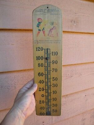 X TOLEDO OHIO Vintage RARE Dr. Hussey Family Remedy EARLY WOODEN THERMOMETER