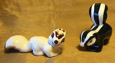 Lot of 2 Mid Century Hand Painted Pottery SKUNK & SQUIRREL Figurines