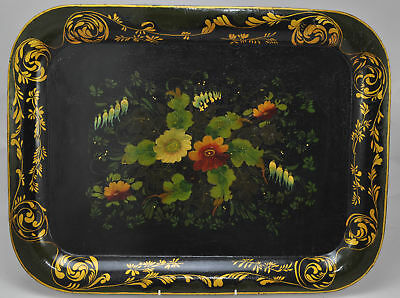 Antique Floral Painted Tole Tray Early 20th Century
