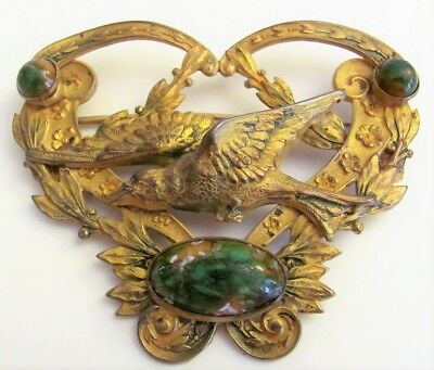ANTIQUE ART NOUVEAU Victorian BRASS Green Turquoise SASH PIN BROOCH HUGE 3""