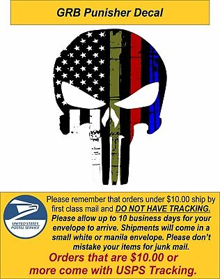 Punisher Skull Decal - Military, Police, Fire Exterior Window Decal - Var. Sizes