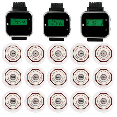 New Restaurant Wireless Calling System&3Watch Receiver&15Call Transmitter Button