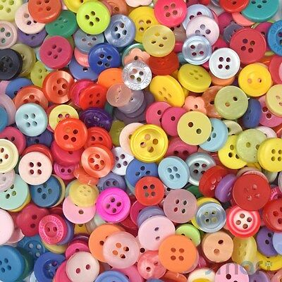 100pcs Assorted Round Resin Buttons Lots Craft Sewing Scrapbook DIY Cards
