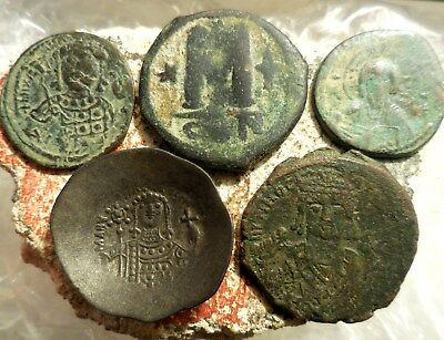 Lot of 5 Very Fine Byzantine Coins, Trachy, Jesus, Cross, Maurice, Largest 30 mm