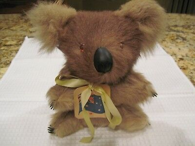 "Vintage Aussie Real Fur Hard Stuffed Koala Bear 8"" Original Tag"