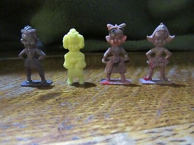 4 Vintage hard Plastic Cracker Jack Toys-Funny Odd Looking Girls