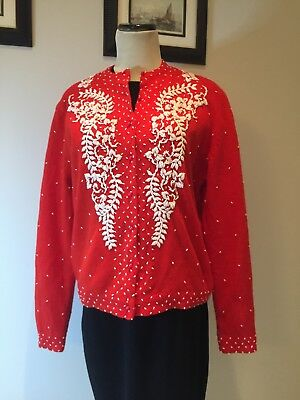 vintage 1950s red wool blend beaded cardigan size M L (see measurements)